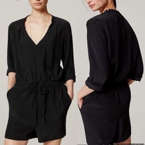 Loft Petite Long Sleeve V-neck Romper